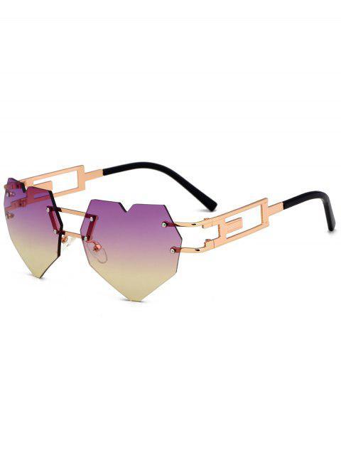 Gafas de sol sin adornos adornadas en el corazón al aire libre del amor - Púrpura + Amarillo c6  Mobile