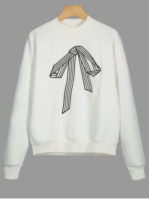 shop Bowknot Embroidered Fleece Sweatshirt - WHITE S Mobile