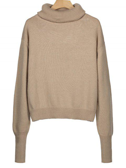outfit Ribbed Trim Turtleneck Sweater - KHAKI ONE SIZE Mobile