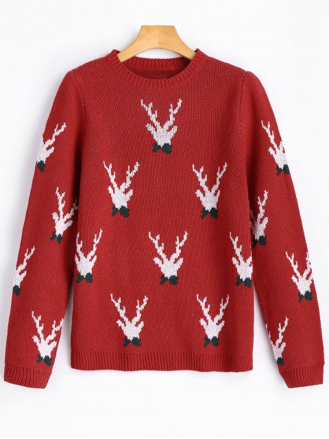 unique Reindeer Graphic Christmas Sweater - RED ONE SIZE Mobile