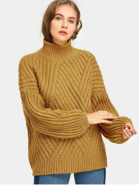 womens Drop Shoulder High Collar Sweater - MUSTARD ONE SIZE Mobile