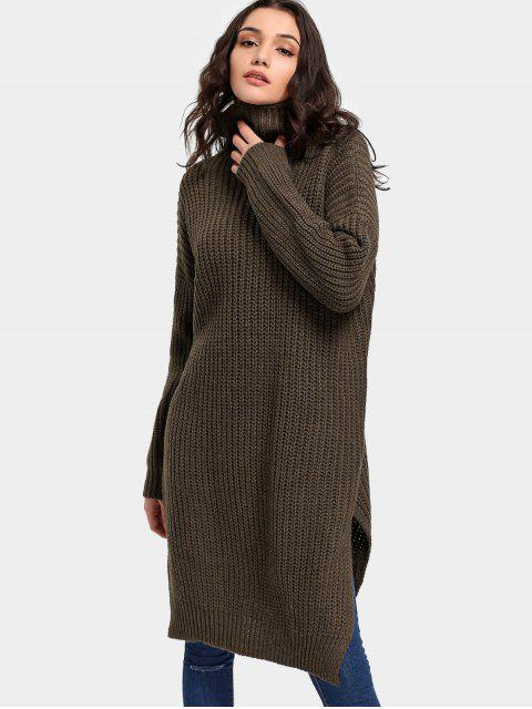 hot Turtleneck Side Slit Longline Sweater - COFFEE ONE SIZE Mobile