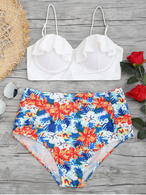 hot Floral Frilled Underwire Plus Size Bikini Set - FLORAL 2XL Mobile