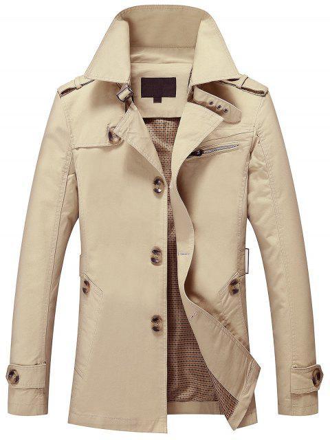 Mens Button Up Cargo Jacke - Helles Khaki L Mobile