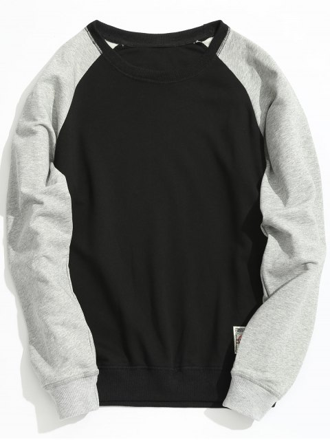 Sweat-shirt à Deux Tons - Noir 5XL Mobile