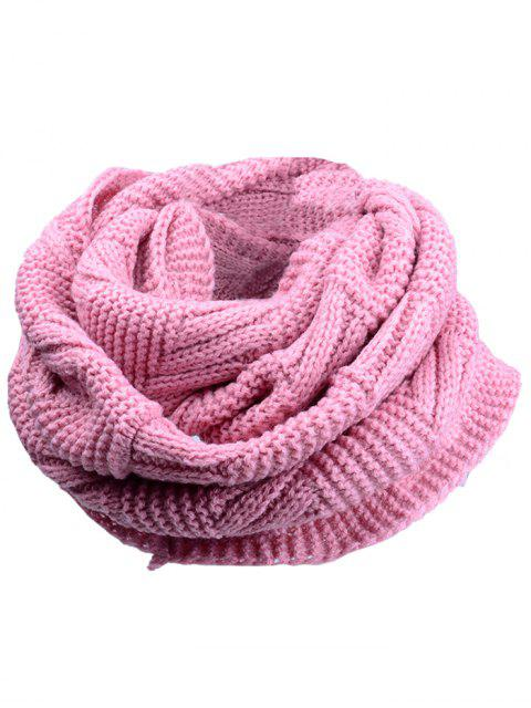 lady Outdoor Crochet Ribbed Knitting Scarf - PINK  Mobile