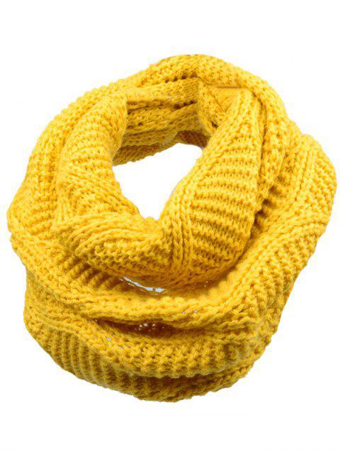 Bufanda de punto de lana de punto de espesar suave - Amarillo  Mobile