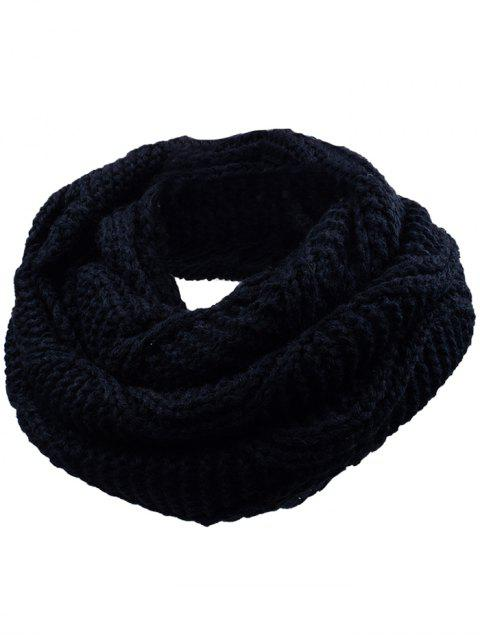 buy Soft Thicken Ribbed Knit Winter Scarf - YELLOW AND BLACK  Mobile