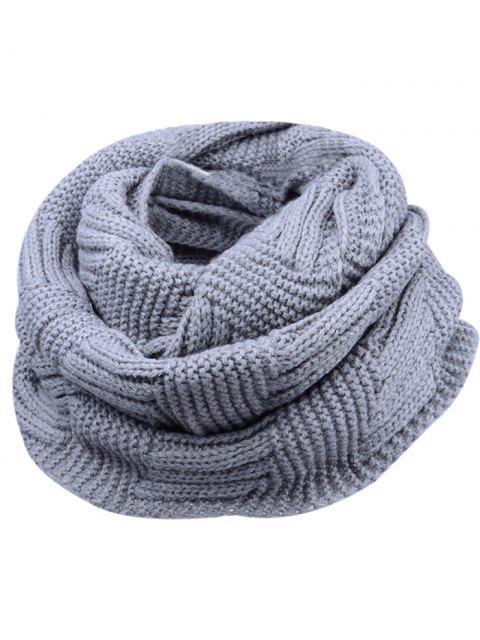 outfits Outdoor Crochet Ribbed Knitting Scarf - GRAY  Mobile