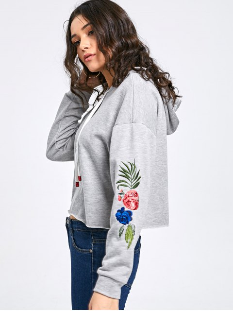 womens Short Embroidery Hoodie - HEATHER GRAY 2XL Mobile