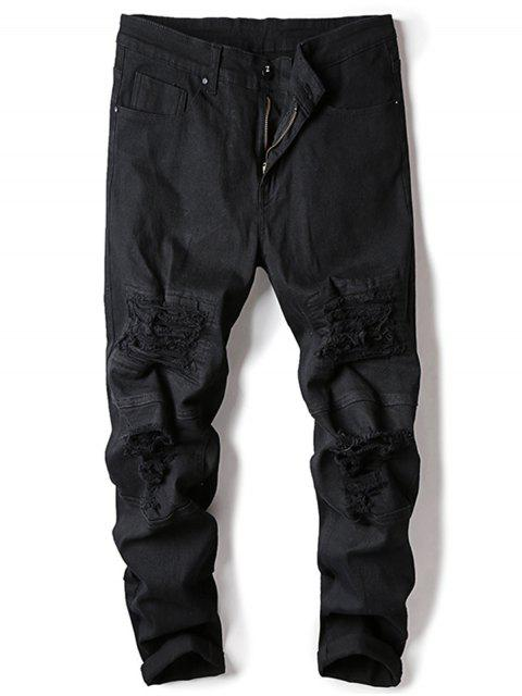 online Straight Leg Stretch Destroyed Jeans - BLACK 38 Mobile