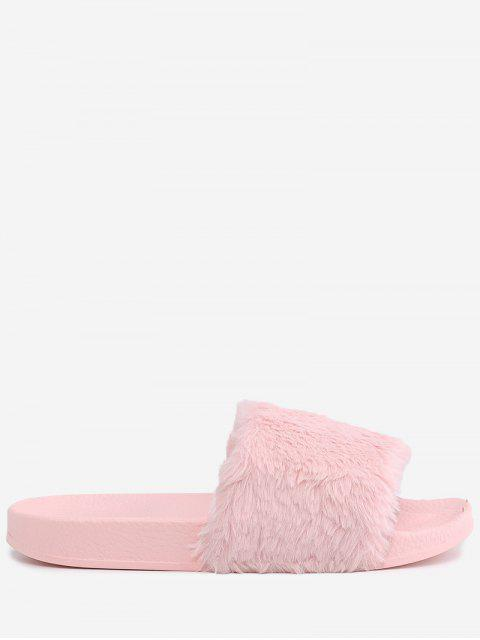 shop Faux Fur Open Toe Slippers - PINK 37 Mobile