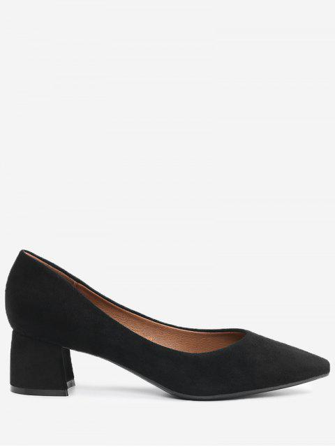 shops Pointed Toe Mid Heel Pumps - BLACK 38 Mobile