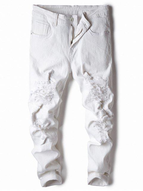 fancy Straight Leg Stretch Destroyed Jeans - WHITE 34 Mobile