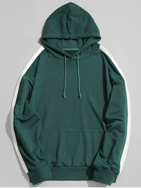 new Pocket Contrast Stripe Sleeve Hoodie Men Clothes - GREEN M Mobile