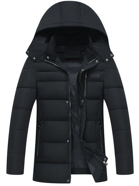 trendy Full Zip Detachable Hood Padded Coat - BLACK 3XL Mobile