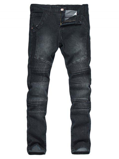 Zipper Fly Accordion Pleat Gebleichte Biker Jeans - Schwarz M Mobile