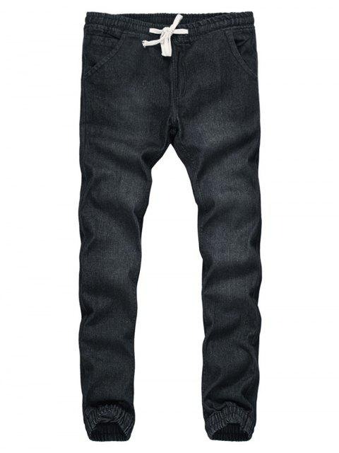 Kordelzug Beam Feet Bleach Wash Jogger Jeans - Schwarz M Mobile