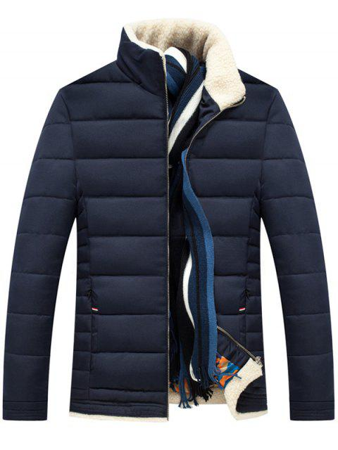 buy Stand Collar Zipper Up Quilted Jacket - PURPLISH BLUE 2XL Mobile