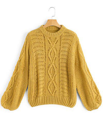 Lantern Sleeve Sheer Pullover Sweater - Mustard