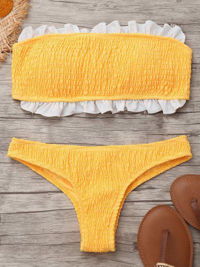 Smocked Ruffles Bandeau Bikini Top And Bottoms - Yellow S