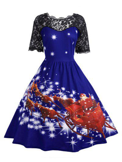 Plus Size Lace Panel Father Christmas Midi Party Dress - Royal 2xl