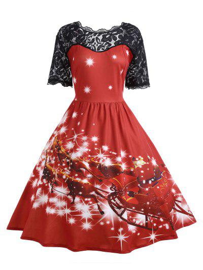 Plus Size Lace Panel Father Christmas Midi Party Dress - Red 4xl