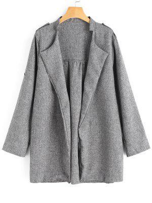 Plus Size Heathered Open Front Coat