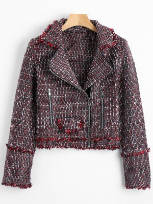 Zip Up Crop Tweed Jacket - Burdeos M