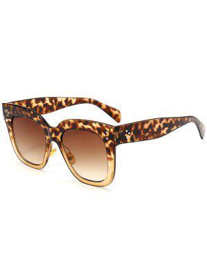 Anti UV Full Frame Square Sunglasses - Leopard+ Double Dark Brown - Leopard+ Double Dark Brown