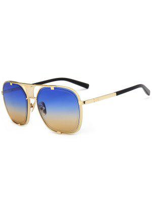 Metal Frame Hollow Out Embellished Sunglasses - Blue And Yellow - Blue And Yellow