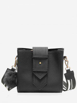 Stitching Buckle Strap Pompom Crossbody Bag