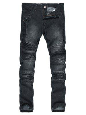 Zipper Fly Accordion Pleat Gebleichte Biker Jeans