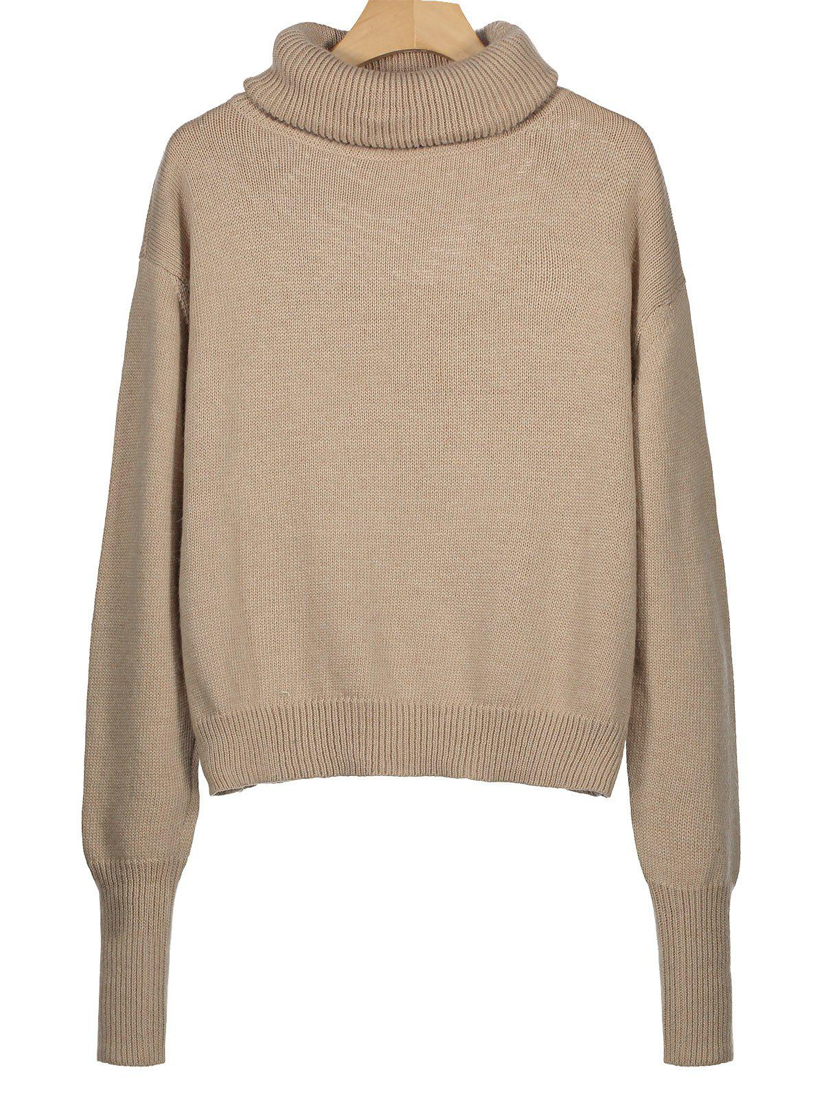 Ribbed Trim Turtleneck Sweater 232147901