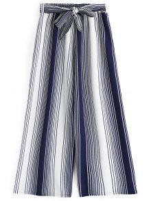Ninth Bowknot Stripes Calças De Perna Larga - Listras