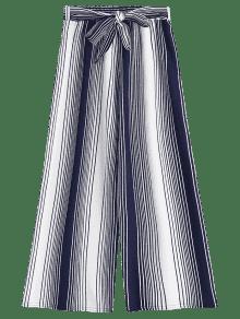 Ninth Bowknot Stripes Wide Leg Pants