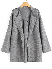 معطف الحجم الكبير مفتوحة الجبهة - رمادي 3xl