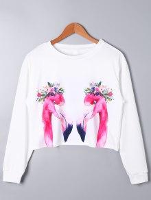 Swan Print Long Sleeve Crop Top - Branco Xl