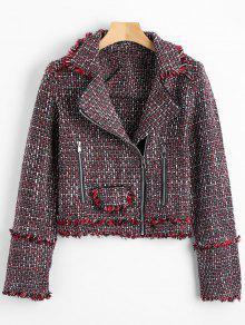 Zip Up Crop Tweed Jacket - Burdeos L