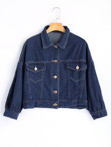 Sequined Letter Appliques Denim Jacket - Azul Escuro S