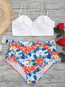 Conjunto De Bikini Con Pliegues Con Volantes De Flores, Tamaño Grande - Floral Xl