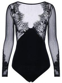 Body De Manga Larga Con Estampado Claro - Negro Xl