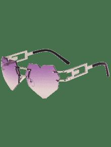 Outdoor Love Heart Embellished Rimless Sunglasses
