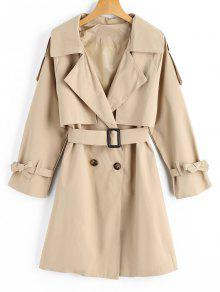 Belted Bowknot Button Up Trench Coat - Cáqui Claro S