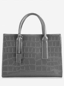 حقيبة توتي من الجلد بطبعة جلد التمساح - رمادي