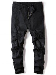 الجينز المدمرة مستقيم الساق تمتد - أسود 32
