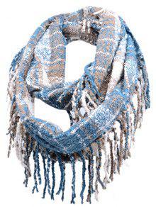 Vintage Fransen Rand Künstliche Kaschmirschal - Windsor Blau