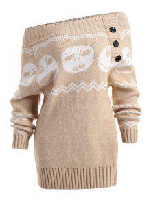 Halloween Skull Off The Shoulder Tunic Sweater - Cáqui Claro S