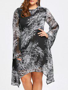 Color Block Print Plus Größe Langarm Kleid - Weiß & Schwarz 5xl