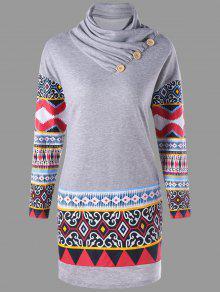 Plus Size Heap Kragen Ethnischen Print Langarm Kleid - Grau 3xl